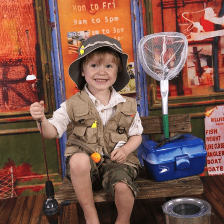 Cute toddler ready to go fishing, from Enlightened Photography.